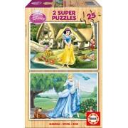 Puzzles Educa - Princesas Disney, puzzle, 2 x 25 piezas de madera (Educa Borrás 15591)