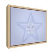 Feel Good Art eco-printed e incorniciato Nursery Tela con telaio in legno massiccio naturale (64 x 44 x 3 cm, grande, morbido blu, non tutte le stelle appartengono al cielo)
