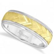 Braided Men's Wedding Ring Diamond Cut Band 14k Two Tone Gold (7 mm)