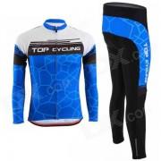 SAE126 ciclo superior / SAK359 ciclismo Jersey poliester manga larga + pantalon - azul + negro (M)
