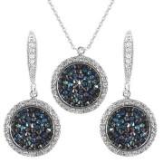 Set cercei + pandantiv cristal Swarovski Solitaire albastru