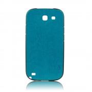Силиконов калъф Fashion Style с кожен гръб за Samsung Galaxy Note 2 син