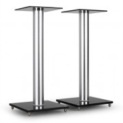 Home Cinema Hifi Speaker Stands - Glass/Aluminium - 58cm