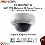 Hikvision Original English Version DS-2CD2732F-IS 3MP IP66 Network IR Dome IP Camera 2.8-12mm Vari-focal lens CCTV Camera