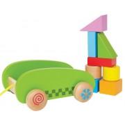 Hape - E0408 - Jouet À Tirer - Mini Chariot Avec Blocs