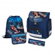 Ghiozdan ergonomic echipat (penar 16 piese, necessaire rotund, sac sport), dimensiune 37x38x22 cm motiv Midi Plus Champion