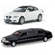 Playking Kinsmart Combo of 1999 Lincoln Town Stretch Limousine and BMW M3 Coupe 5'' Die Cast and Pull Back Action Car
