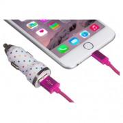 Incarcator auto & cablu Trendz Bullet 2100mAh Polka Dot pt iPhone 5/6