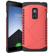 Heartly Hybrid Slim Dual Layer Hard Rugged Armor Bumper Back Case Cover For OnePlus Two 2 Dual Sim - Cute Pink