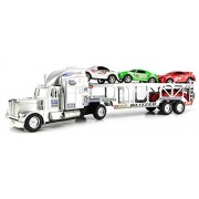 Toy Trucks Go Speed Champion Trailer Friction Powered Toy Truck w/ Trailer, 4 Toy Cars