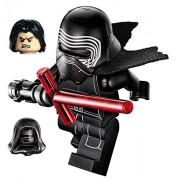 Lego Star Wars Minifigure Kylo Ren Complete With Helmet, Hood, Hair, Flesh/Black Face With Cross Lightsaber