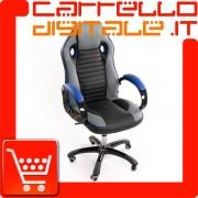Poltrona da Ufficio Presidenziale - Mod. Sport Racing - ideale per Gaming - Blue
