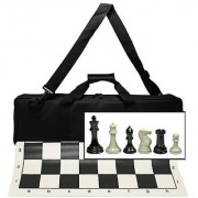 Ultimate Tournament Chess Set with New Silicone Chess Mat Canvas Bag and Super Triple Weighted Chessmen with 4 King