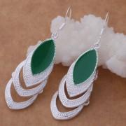 Cercei eleganti placati argint cristal verde Sara