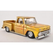 Chevrolet C-10 Stepside Pick Up Low Rider, met. gold with flame patterned , 1965, Model Car, Ready-made, Sun star 1:18 by Sunstar