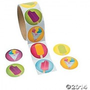 Great for party favors or classroom give-aways-2 Rolls of 100 ICE CREAM Frozen treat STICKERS 1.5 -Assorted brightly co