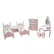 Dollhouse Miniature 6-Pc. White Twin Bedroom Set