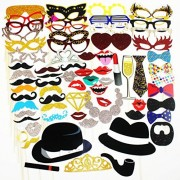 Party Photo Booth Props Diy Kit,Paper Prop On A Wood Stick for Taking Funny Photos On Birthday,Wedding,Reunions,Dress-up Costume Accessories with Mustache,Hats,Glasses,Lips,Bowties,72 Pcs