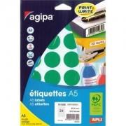 Agipa Etiquettes - Étiquettes Adhésives Permanentes - Vert - Diamètre 30 Mm 240 Étiquette(S) ( 10 Feuille(S) X 24 )