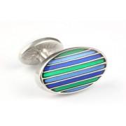 Mousie Bean Enamelled Cufflinks Oval Stripes 063 Tonal Green