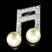 Sixteenth Music note Swarovski Crystal and Pearl Musical Brooch
