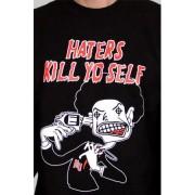 e.5.Charlie Haters Crew Neck Custom Printed T Shirt Black