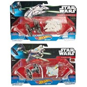 2 Pack Star Ship & Star Wars Spaceship Set Hot Wheels Millennium Falcon Tie Fighter & Ghost Ship First Order 4 Ships