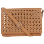 Yours Luggage Women Tan Leatherette, PU Sling Bag
