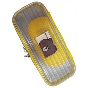 Wise Guys Trendy Zipper Hard Case Pencil Pouch Box / Multipurpose Organizer Case for Kids - Transparent & Yellow