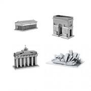 Set of 4 Metal Earth 3D Laser Cut Building Models: Parthenon - Arc de Triomphe - Brandenburg Gate -