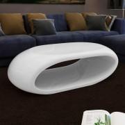 vidaXL Маса за кафе с уникален вдлъбнат дизайн, цвят бял