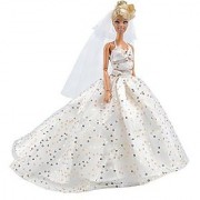 E-TING Barbie Fashionista Handmade Clothes 1 pcs Party Gown Dresses White Sequined Long Tail Wedding Dress for Doll Barbie Dolls Gift