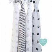 Aden + Anais 4-Pack Swaddles Grey och White Lovestruck Filtar
