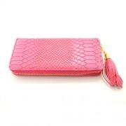 Portofel elegant pentru femei roz cu fermoar auriu