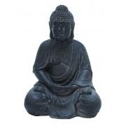 Fiber Stone Buddha with Elegant Detailing in Black Color