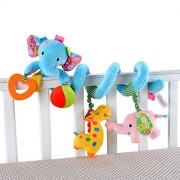 Singring Baby Pram Crib Cute Blue Elephant Design Activity Spiral Plush Toys Stroller and Travel Activity Toy by Singring