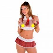 Fantasia Adulto Erótica Sexy Estudante Colegial de Mini Saia e Top - VT073