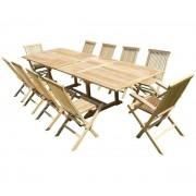 Ensemble de jardin en teck premium KIRANG 8 chaises 2 fauteuils JENAE