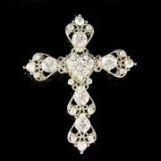 Swarovski Crystal Christening Baptism Christ Cross Heart Brooch