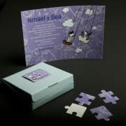 Invitación Boda Puzzle en caja azul claro
