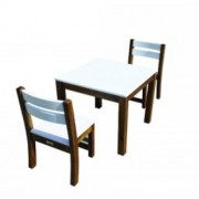 Qtoys White Top Timber Table With White Seat Stacking Chairs
