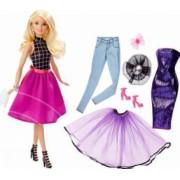Set Papusa Barbie Blonda Combina Tinutele