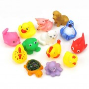 Hot One Dozen 13pcs Rubber Animals With Sound Baby Shower Party Favors Animal Toy Cochon Poisson Grenouille Jouet