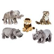 National Geographics Africa Big Elephant Hippo Lion Leopard Rino Plush Family Set 5 Piece Medium