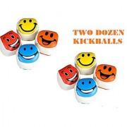 2 Dozen SMILEY FACE Kickballs ~ Fun 2'' Footbags Kickballs ~ Colorful Birthday Party Favor ~ Coach Team Prize ~ School Outdoor Play ~ Toys ~ New