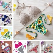 2016 bikinis Crochet Swimwear Bathing Suit sexy push up bikini Handmade Swimsuit Brazilian bikini swimming suit for women