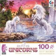 Unicorns Unicorn Waterfall Sunset Jigsaw Puzzle