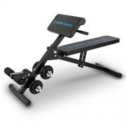 Capital Sports Sit'n Curl Banco de abdominales y bíceps con pesas (Entrenamiento multifuncional, incluye set de mancuernas de 20kg, diseño plegable, capacidad carga 160kg, reposapies acolchado)