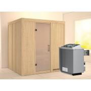 KARIBU Sauna Systemsauna Sodin satiniert inkl. 9 kW Saunaofen integr. Steuerung