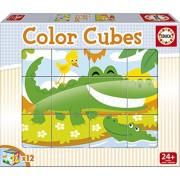 Educa Borrás - Color Cubes, 12 cubos con diseño de animales salvajes, 6 puzzles (15589)